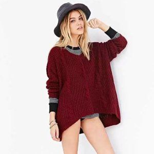 UNIF x UO Oversize Cable Knit Maroon Sweater Sz S